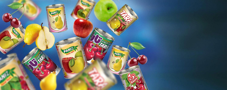 اسلایدر کمپوت سیب ، گلابی ، گیلاس ، تارا،پانیذ،داتی